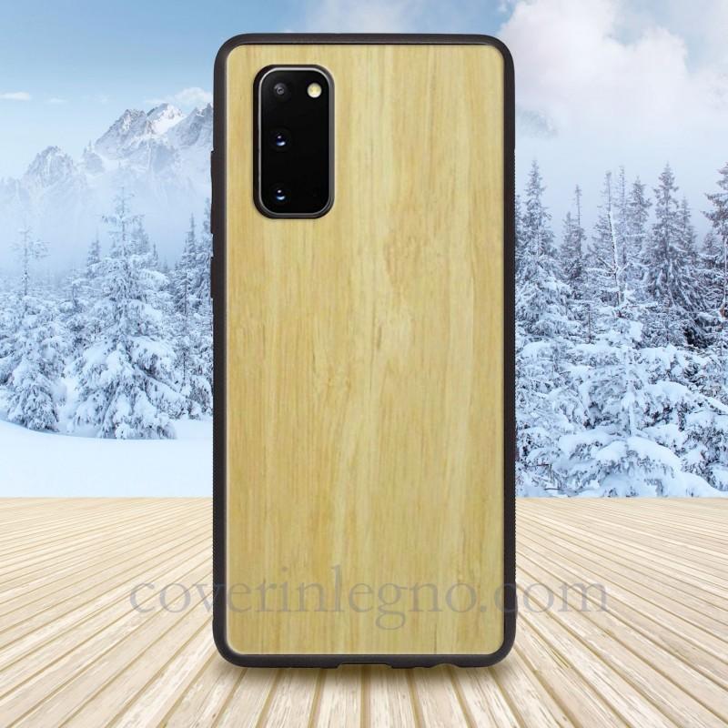 Cover in Legno S20 Samsung personalizzabile con scritte , loghi o foto.