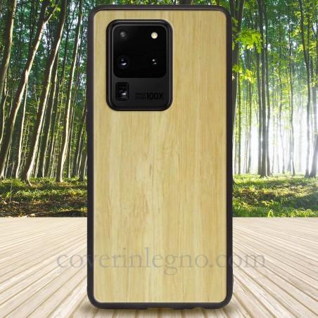 Cover in Legno S20 ultra Samsung personalizzabile con scritte , loghi o foto.